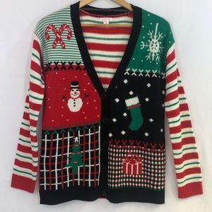 Xhilaration Ugly Christmas Sweater Cardigan Medium